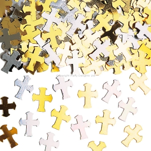 Religious Occasions Communion Blessings Silver And Gold Cross Confetti
