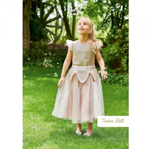 Girls Party Dress Disney Boutique Tinker Bell Rose Gold Sequin Tulle Dress