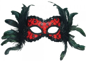 Deluxe Black and Red masquerade Eye Mask