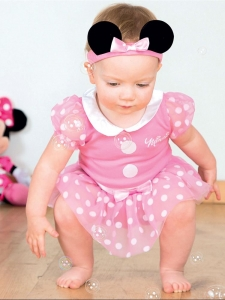 Girls Disney Minnie Mouse Pink Jersey Baby Fancy Dress Costume