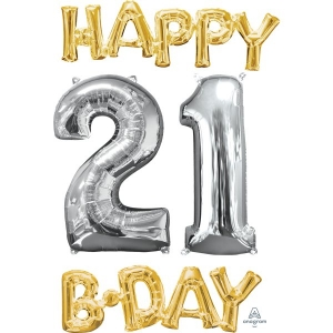 Happy 21st Birthday Party Gold And Silver Celebration Balloon 26""