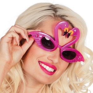 Flamingo tropical style hawaiian glasses