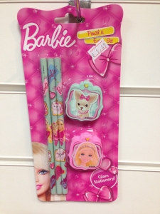 5 pack of Barbie pencils and erasers party bag filler