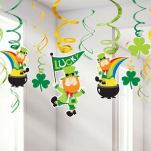 St Patrick's Day Hanging Swirls Party/ Celebration Decoration- 25cm