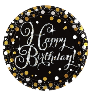 Sparkling Celebration Happy Birthday Pack of 8 - 23cm Paper Party Plates