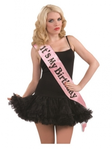 Pink and black Happy Birthday  Foil wearable sash 60 inches