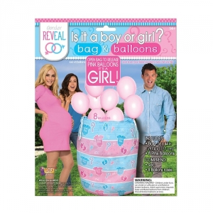 Baby Shower Gender Reveal Party It's A Girl Reveal Bag And Balloons Pink