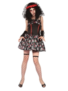 Ladies Halloween Fancy Dress Day Of The Dead Skeleton Dress One Size 10-14