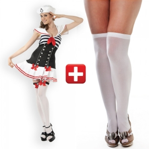 Ladies Sexy Sailor Fancy Dress Costume 10-14