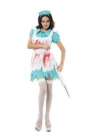 Ladies Halloween blood splattred nurse Fancy Dress Outfit 10-14