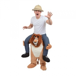 Mens / Ladies Adult Piggy Back Lion Fancy Dress Costume