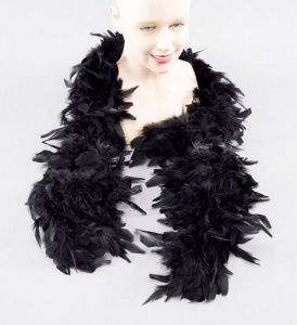 Fancy Dress Accessory Deluxe 2 Metre Feather Boa - Black