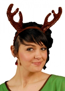 Brown Glitter Sequin Reindeer Antlers Fancy Dress Christmas
