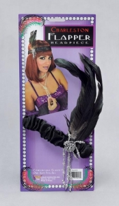 1920's Fancy Dress Black Gangster Flapper Headband with Feathers