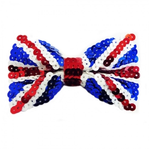Union Jack sequin bow tie fancy dress accessory