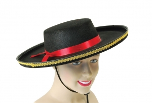 Black Felt Spanish style fancy dress Hat with gold Trim and red ribbon detail