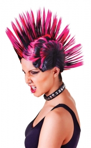 Pink and Black Punk Mohican Wig