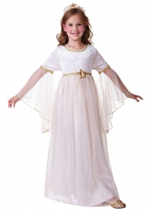 Girls Christmas Angel Costume with gold Halo and wings