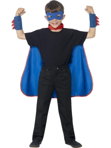 Childrens Fancy Dress Superhero Costume Blue cape and accessorys