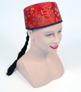 Chinese Mandarin Hat With Plait