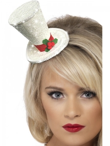 Christmas Fancy Dress White Top Hat