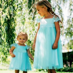 Girls Party Dress Disney Boutique Elsa Aqua Lace Smock Dress