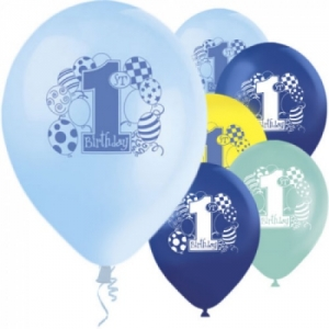 Boys Blue 1st Birthday Printed Helium Quality Balloon 12'' Latex 8 Pack