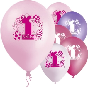 Girls Pink 1st Birthday Printed Helium Quality Balloon 12'' Latex 8 Pack