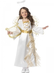 Girls Deluxe Christmas Angel Costume with Halo