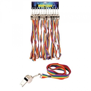 Gay pride/ Carnival Fancy Dress Cord Whistle Rainbow Colours