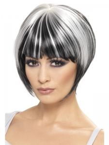 Halloween Black & white Blunt Bob Wig
