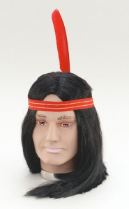 Indian Wig with Headband and Feather