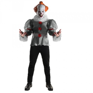 Mens Halloween Fancy Dress Pennywise Film IT Clown Costume