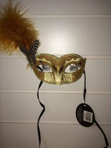 Deluxe gold and cream glitter feather Masquerade Eye Mask