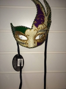 Deluxe purple and green, patterned detail Masquerade Eye Mask