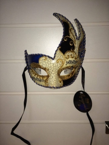 Deluxe blue and black, patterned detail Masquerade Eye Mask