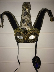 Deluxe black and gold glitter Jester Masquerade Eye Mask