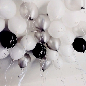 Party 10 Pack Of Balloons white black or silver