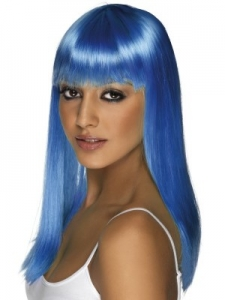 Neon Blue Glamour Wig With Fringe