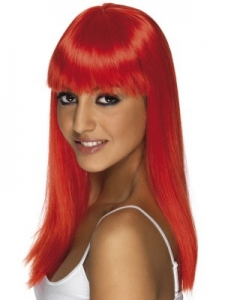 Neon Red Glamour Wig With Fringe