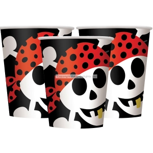 Pirate party paper cups 9oz pack of 8