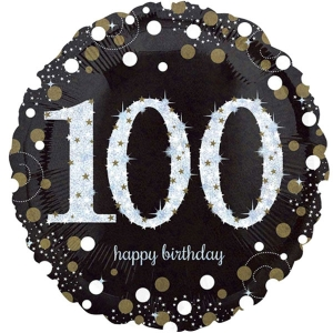 "Happy 100th Birthday Party Sparkling Mix Celebration 18"" Foil Balloon"