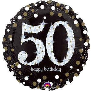 "Happy 50th Birthday Party Sparkling Mix Celebration 18"" Foil Balloon"