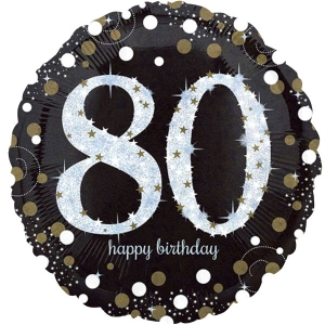 "Happy 80th Birthday Party Sparkling Mix Celebration 18"" Foil Balloon"