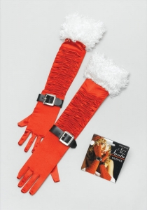 Sexy Red Satin Miss Santa Gloves