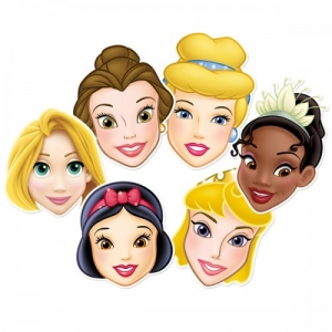 Disney Princess party quality cardboard 6 face masks