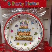 "Happy birthday party 9"" plates 8 in pack"