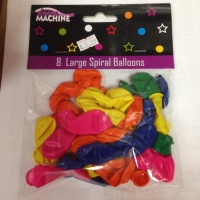 8 pack of large spiral Party balloons mixed colours