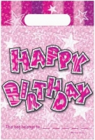 Birthday party bags pink loot bag 20 pack