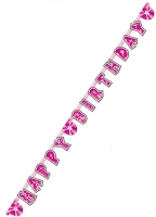 "Pink glam letter happy birthday banner 66"" decoration"